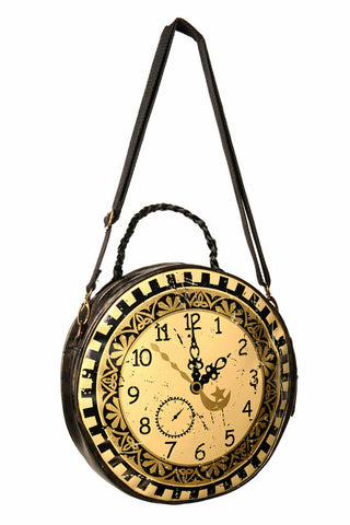 Banned Apparel Steampunk Clock Circular Round Handbag
