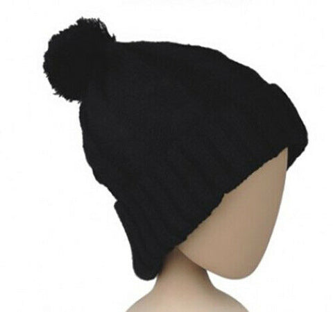 Black Cable Knit Ribbed Beanie with Black Pom Pom Womens Hat Knitted Wooly