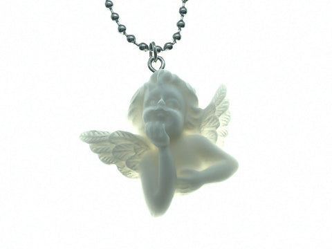 Porcelain Style Cherub Wings Necklace Vintage Baby Pendant Ball Chain