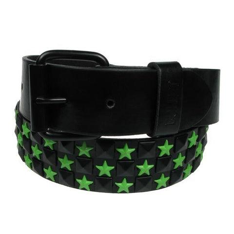Bullet 69 Checked Pyramid Stud 3 Row Studded Black Studs With Green Stars Belt