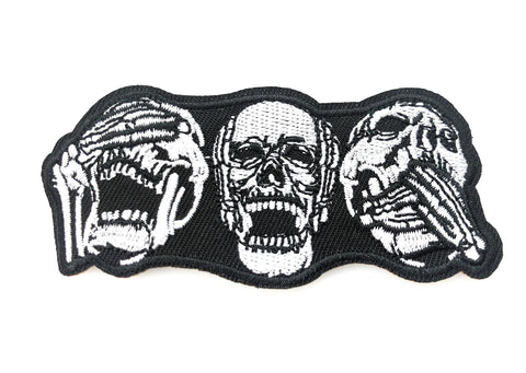 See No Evil Hear No Evil Speak No evil Skeleton Trio Embroidered Iron On Patch