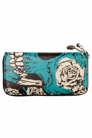 Banned Apparel Blue Sugar Skull Wallet Bones Roses Gothic Purse Wallet