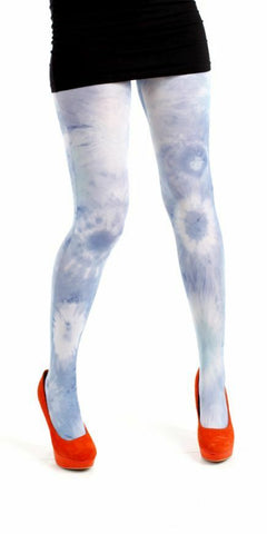 Pamela Mann Acid Tie Dye Light Blue Printed Womens Tights