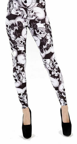 Pamela Mann Riley Skull Skeleton Bones Black & White Printed Footless Leggings W