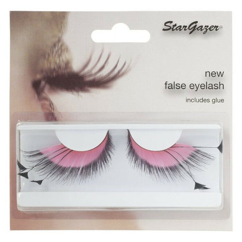 Stargazer Pink & Black # 53 Feather False Eye Lashes with Adhesive
