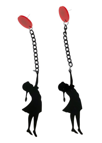 Banksy Red Balloon Girl Graffiti Street Art Black Chain Acrylic Earrings