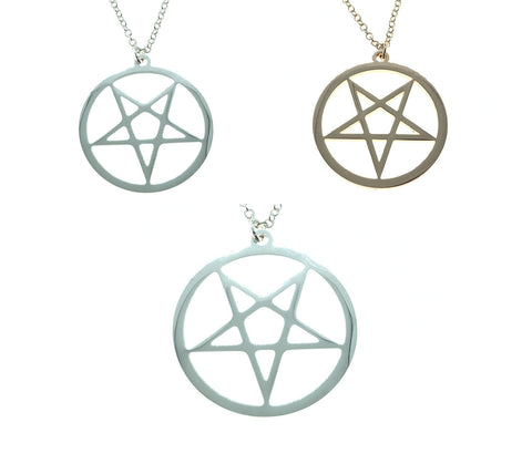 Pentagram Pendant Fine Chain Necklace Silver Rose Gold Witch Gothic