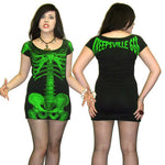 Kreepsville 666 Green Skeleton Tunic Dress Womens