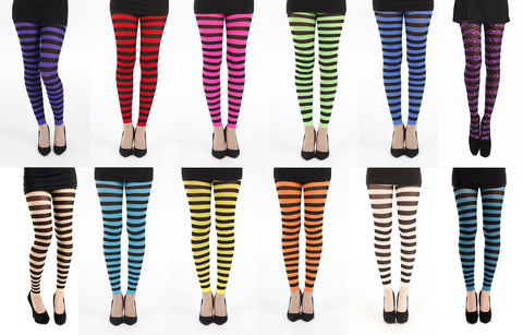 Pamela Mann Twickers Striped Stripy Tights Black & Multiple Colours Womens 8-14