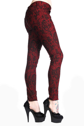 Banned Apparel Cross Cameo Skeleton Skull Womens Trousers Red / Black