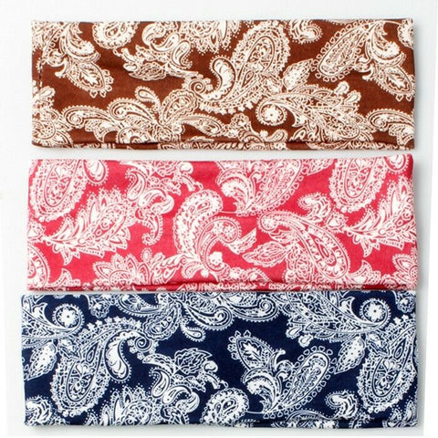 Paisley Print Bandana Red Brown Blue and White Headband Headwear