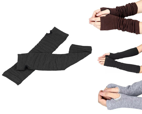 Armwarmers Thumb Holes Long Womens Ladies Arm Warmer Gloves Sleeves