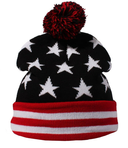 USA Stars & Stripes American United States Slouch Beanie Hat Womens / Mens