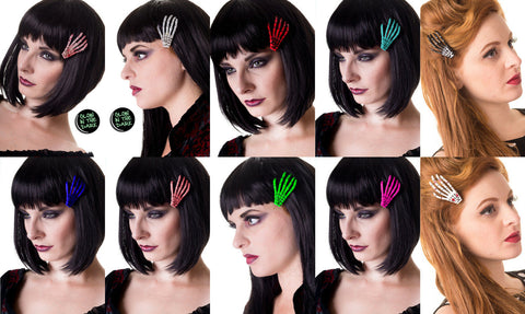 Banned Apparel Skeleton Hand Hair Clip Multiple Colour Choice Glow In The Dark