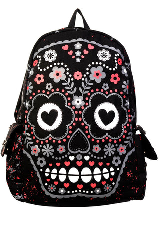 Banned Apparel Sugar Skull Black Red White Goth Backpack