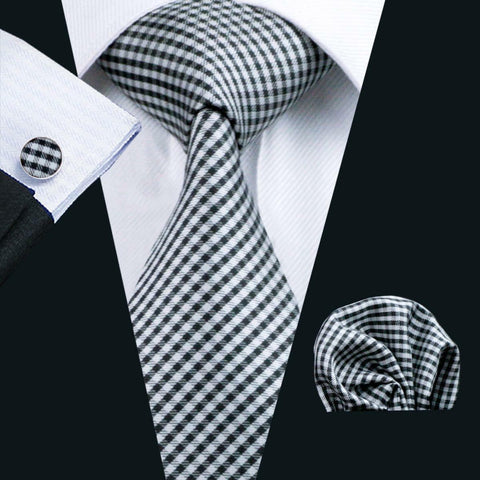 Silk Black & White Jacquard Woven Mens Tie, Pocket Square & Cuff Links Set