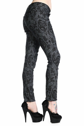 Banned Apparel Cross Cameo Skeleton Skull Womens Trousers Black