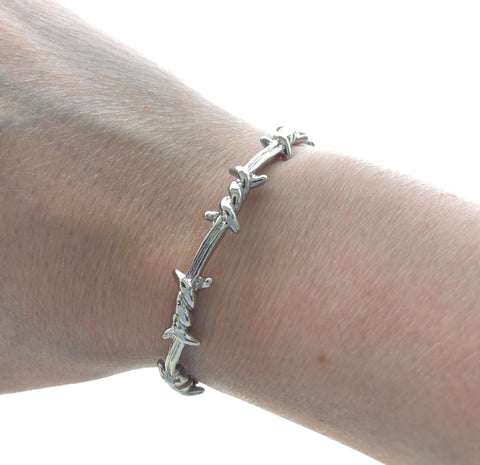 Barbwire Silver Chrome Adjustable Bracelet Bangle Barbwed Wire
