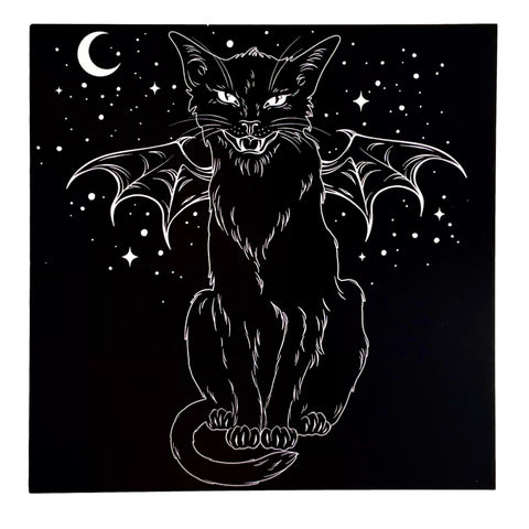 "Witches Black Cat With Bat Wings Hissing Greetings Card 6""x6"""