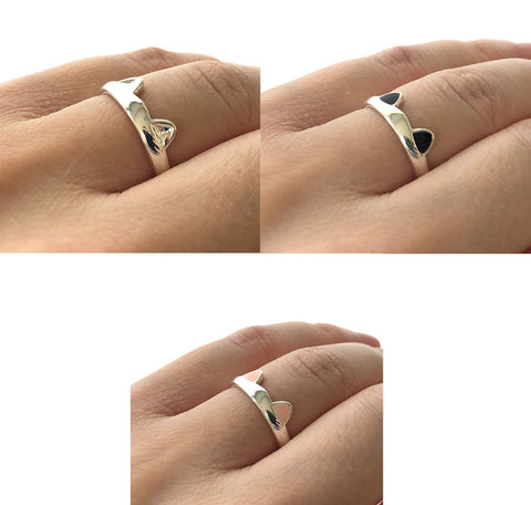 Cat Ear Wrap Around Paw Hug Silver Kitty Adjustable One Size Ring