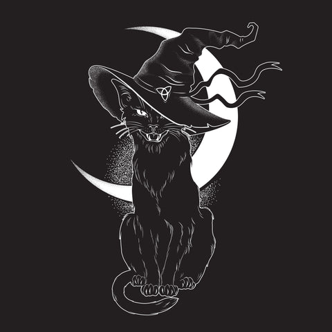 "Witches Black Cat Crescent Moon Hissing Greetings Card 6""x6"""