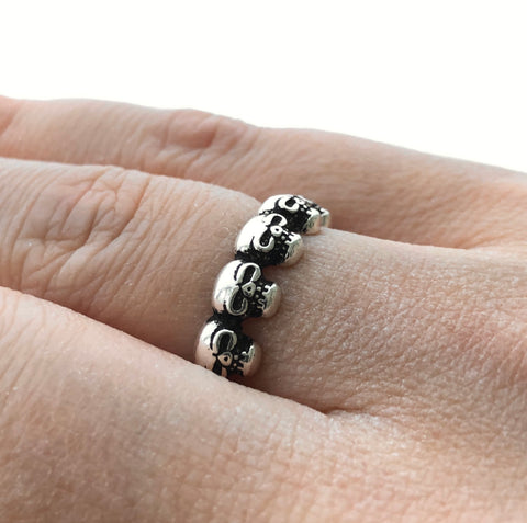 Skulls Gothic Ring Adjustable Size Devil Goth Satantic Witch Symbols Silver