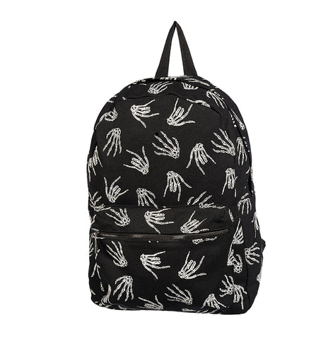 Banned Apparel Black Backpack With Glow In The Dark Skeleton Hand Devil Horns