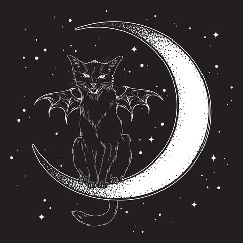 "Witches Black Cat Bat Wings Sitting On Crescent Moon Hissing Greetings Card 6""x6"""