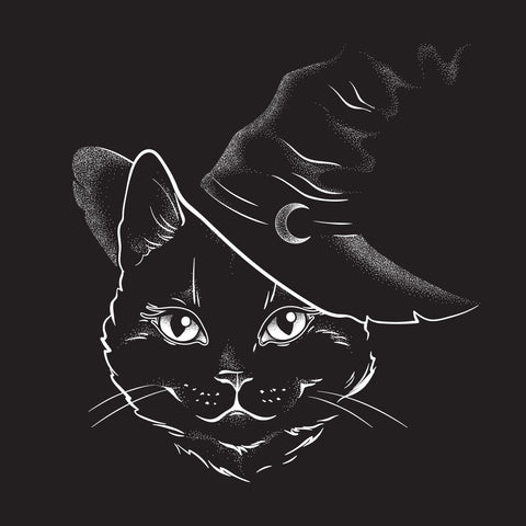 "Witches Hat Black Cute Cat Face Greetings Card 6""x6"""
