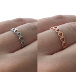 Love Heart Wraparound Adjustable Ring Band Silver Rose Gold