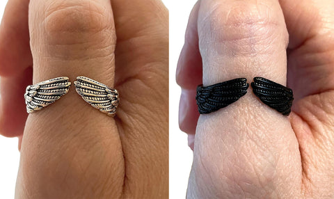 Angel Wings Adjustable Feather Multi Size Thumb Ring Angels
