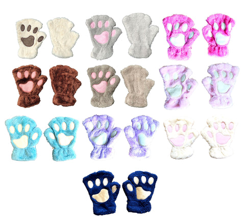 Cat Dog Paw Hands Animal Womens Girls Fleece Gloves