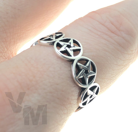 Pentagram Gothic Ring Adjustable Size Devil Goth Satantic Witch Symbols Silver