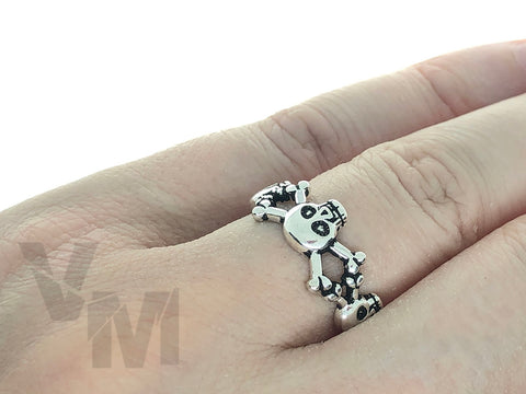 Skull and Crossbones Gothic Ring Adjustable Size Devil Goth skulls Witch Silver