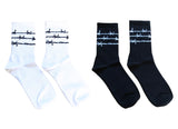 Barbwire Sports Crew Socks Black White Barbed Wire Unisex