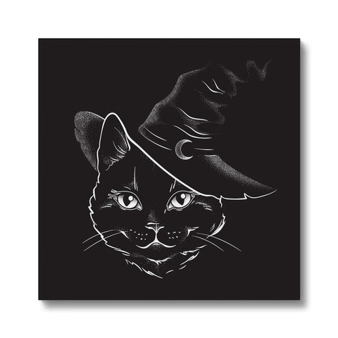 Black Witches Cat Goth Canvas