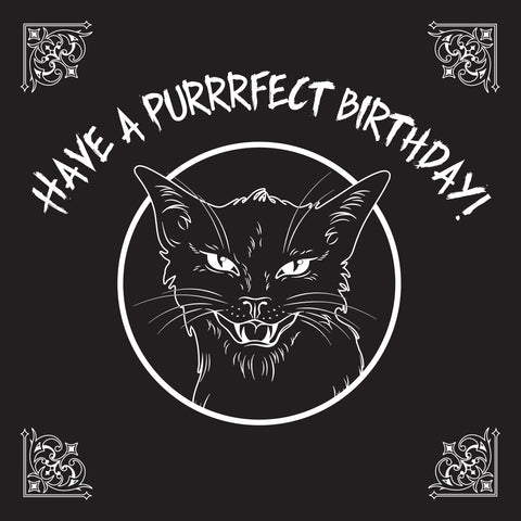 "Have a PURRRFECT Birthday Hissing Black Witches Cat Greetings Card 6""x 6"""