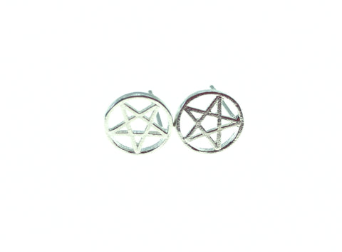 Pentagram Silver Star Studded Earrings Studs Goth Gothic Witch Satan