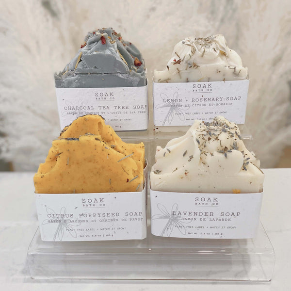 SOAK Soaps: Charcoal Tea Tree, Lemon Rosemary, Citrus Poppyseed, Lavender