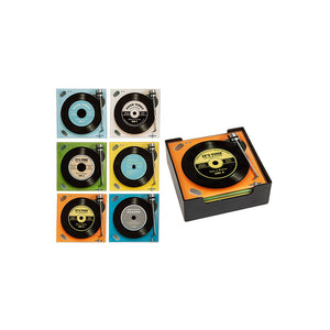 Set 6 Retro Glass Record Player Square Coasters Novelty Gift Holder