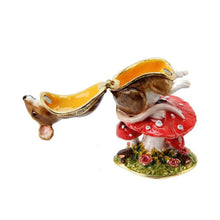 Load image into Gallery viewer, Treasured Trinkets Mouse on Toadstool Trinket Box
