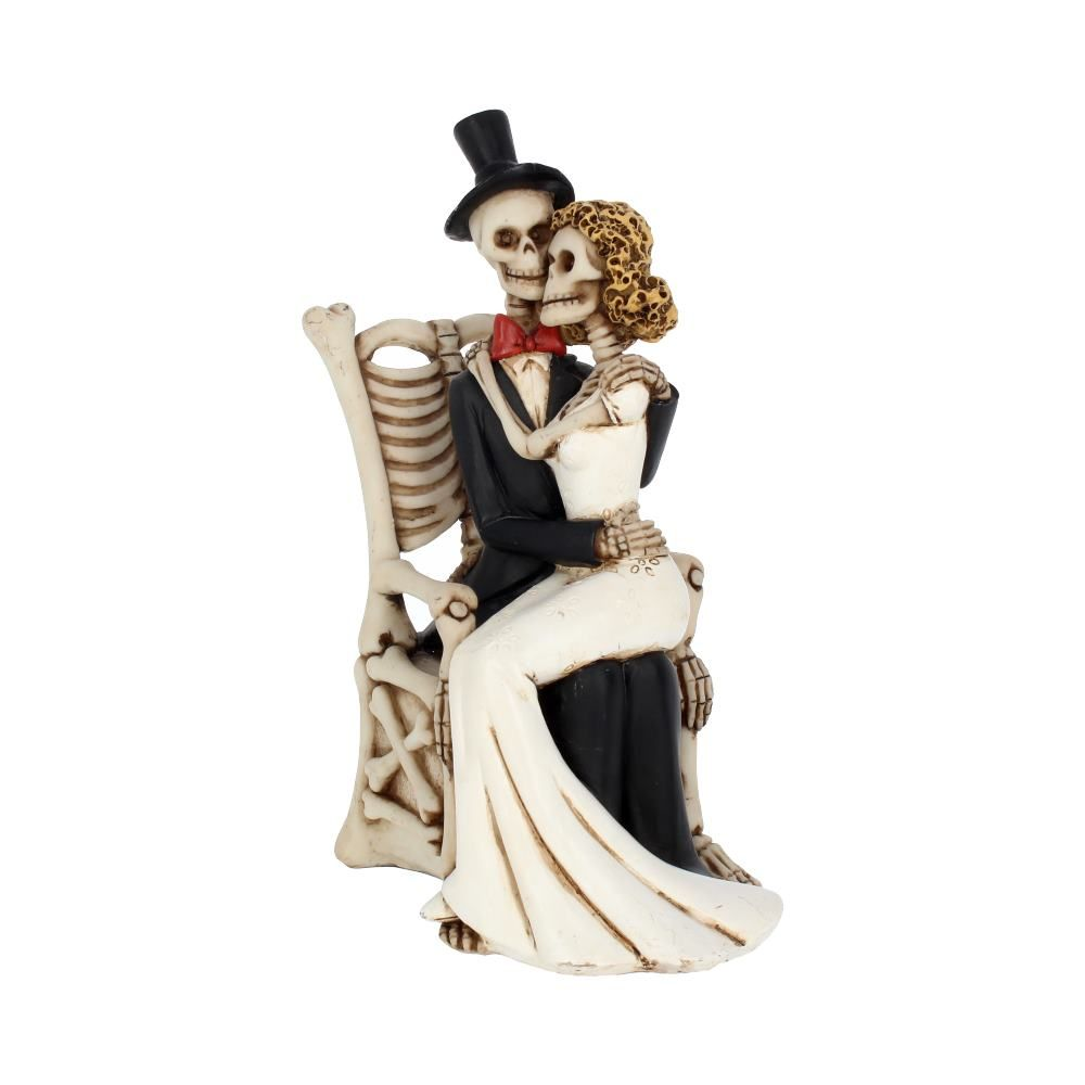For Better, For Worse Gothic Sugar Skull Bride Groom Figurine Wedding Ornament