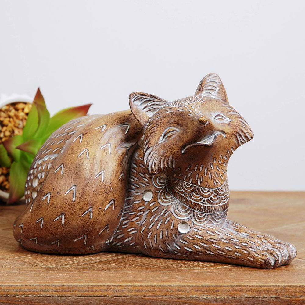 Hestia Carved Sandstone Effect Fox Ornament