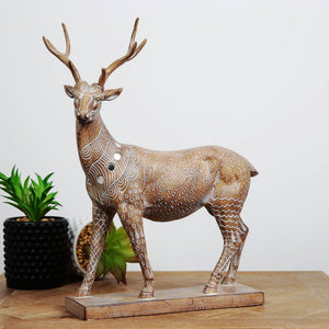 Carved Sandstone Effect Stag Ornament
