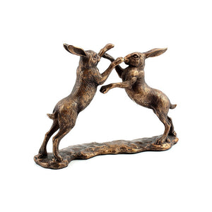 Large Reflections Bronzed Boxing Hares Ornament