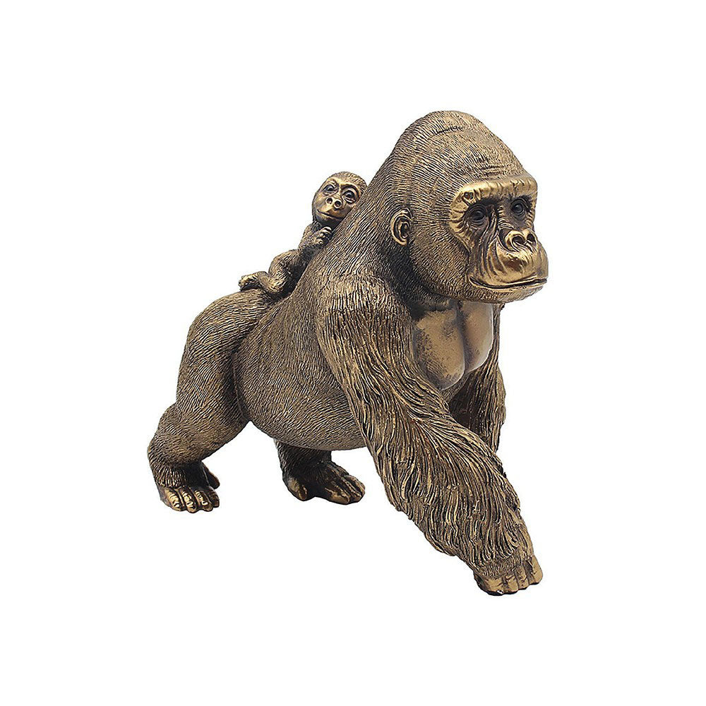 Leonardo Bronzed Gorilla & Baby Figurine Decorative Art Figure Ornament