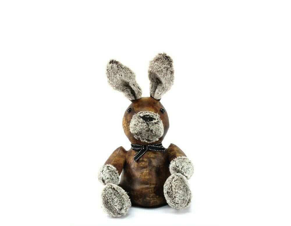 Large Faux Brown Leather Bunny with Fluffy Nose & Paws Doorstop