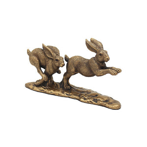 Leonardo Bronze Chasing Hares Ornamental Figure Large