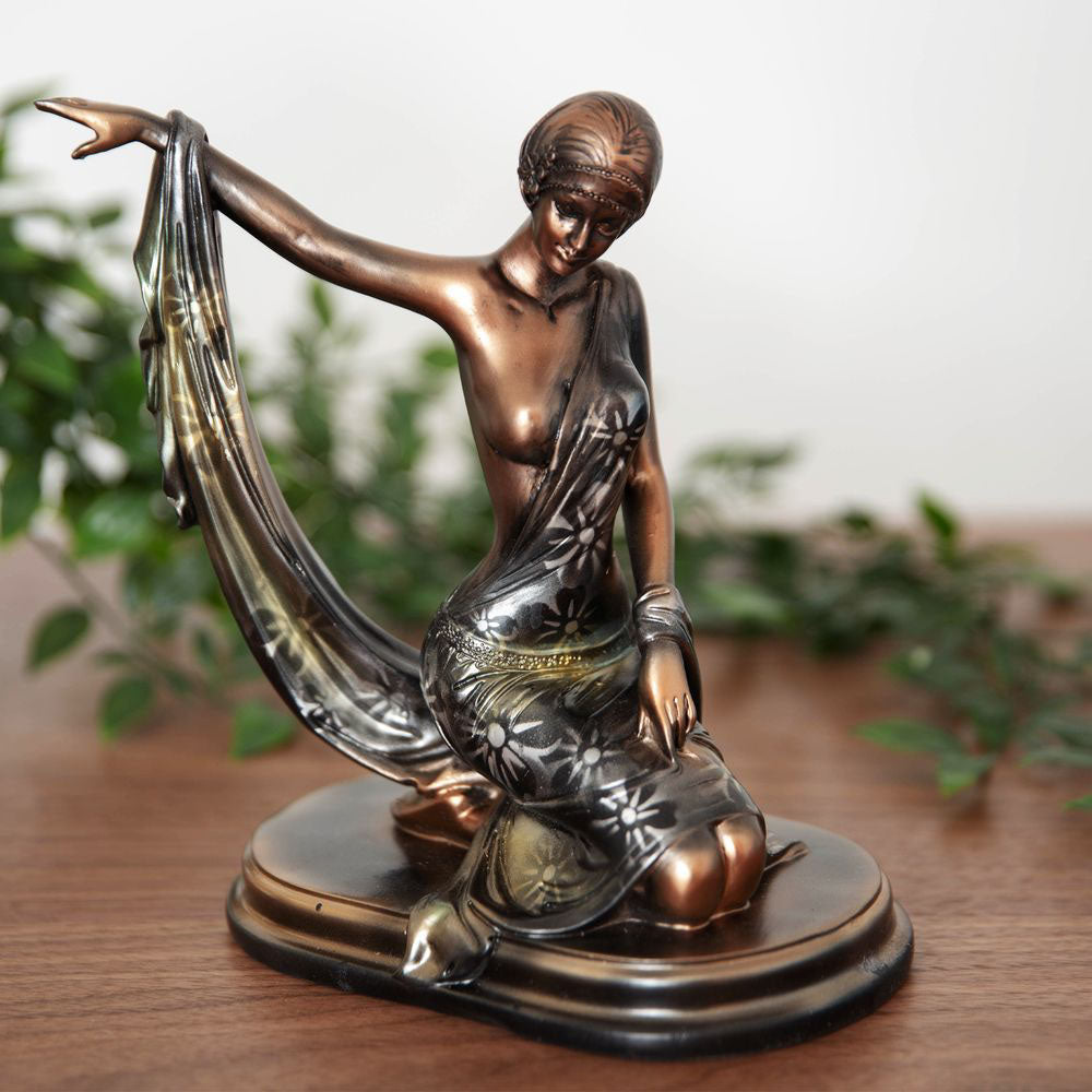 Silhouette Collection Lady Figurine Bronze & Green