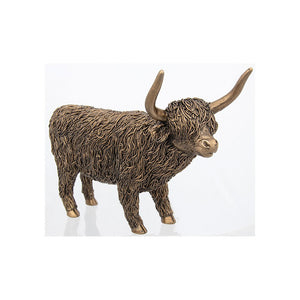 Bronzed Large Resin Standing Highland Coo Cow Orna